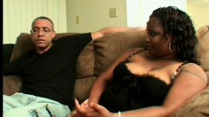 Chunky ebony lady has a hung black dude satisfying her sexual desires