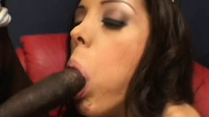 Busty babe with a nice ass gets banged by a big pair of cocks