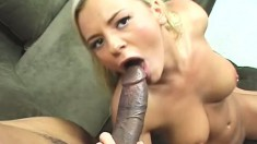 A thick black cock explores every inch of Bree Olson's pink tunnel
