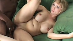 Curvy blonde mom in sexy lingerie Sophia can't resist a big black cock