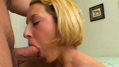 Naughty blonde chokes on a big dick and swallows a huge cumload in POV