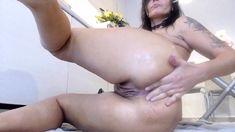 Stacked brunette goes solo toys and masturbation