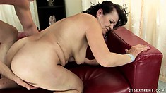 He's pounding his granny girlfriend hard in her hairy snatch