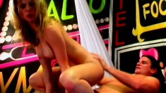 An erotic dancer teases a dude into some intense pussy pounding