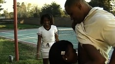 A couple of black tennis sluts each get an anal fuck from the pro