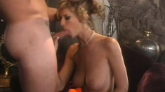 Buxom blonde in pink stockings Brooke Banner needs to get fucked hard