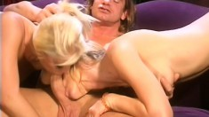 Banging hot blonde nymphos satisfy their lover with their feet