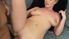 Buxom blonde Leihla gets her fiery pussy banged hard all over the sofa