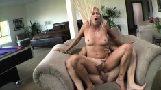 Luscious blonde milf Payton Leigh getting pounded hard by a young stud