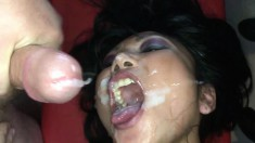 Trashy girl gets fucked in the ass and takes a huge load in her mouth