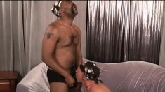Horny white guy takes every inch of a massive black cock up his butt