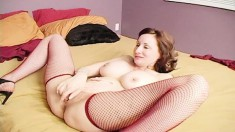 Busty Milf In Red Stockings Gets Frisky With Her Lover In Bed