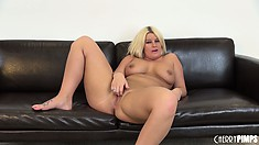 She toys her twat with her dildo and gets on the floor for more