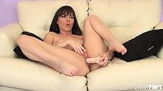 It's solo magic with brunette hottie Dana DeArmond and her sex toys