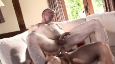 Handsome stud pounds his horny lover's anal hole every way he can