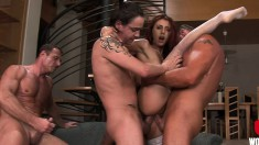 Lusty redhead gets her asshole stretched by four horny studs