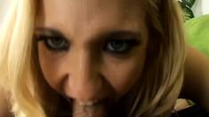 Striking blonde Vivian West sucks a dick and gets a mouthful of semen