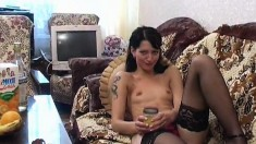 Valeria Drinks Vermouth, Peels Off Her Clothes And Pleases Her Pussy