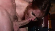 Sexy young redhead Evelyne gets tied up and played with by a hunk