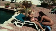 Two lusty young chicks moan while slamming their pussies together