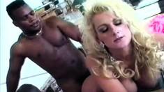 Wild blonde cougar Nico Treasures has a dark stud fulfilling her needs