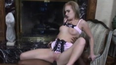 Luscious blonde plays with a sex toy before fucking the black poolboy