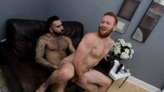 Handsome and horny guy spreads his legs to enjoy the deep anal fucking