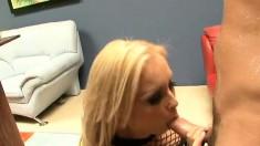 Bodacious blonde in black lingerie fulfills her hardcore anal fantasy