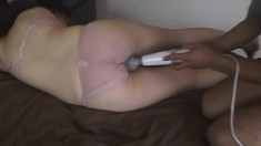 Hot asian babe toying her pussy