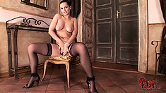 Disgusting and sensual hooker batters her front bottom with a soft finger