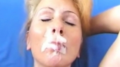 BLOND MILF FACIAL CUMPILATION ( SLOW MOTION )