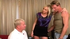 Blonde Girl Makes Man Suck Cock