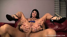 The stacked lady sticks his hard prick in her anal hole and rides it with pure desire