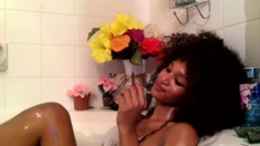Ebony Teen With Curly Hair In Shower