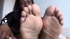 Six Foot Ebony Amazon Shows Off Her Huge Black Feet