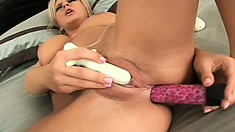 Stunning blonde with marvelous big tits pleases her needy holes and sucks a cock