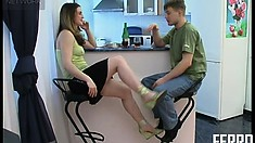 Gorgeous teen flirts with her lover before giving him a CFNM Bj