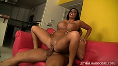 Big-boobed horny slut loves to get jizzed by a monster jackhammer