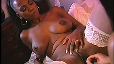 Two exciting ebony babes with perfect bodies hook up on the bed and have some fun