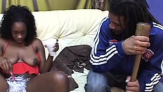 Sexy ebony girl shaves her hairy peach and then gets pounded hard by a black stud
