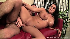 Stunning brunette with big boobs Lacie loves to suck cock and to get fucked hard