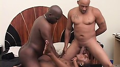 Pretty ebony girl with a perky ass enjoys her time with two black guys