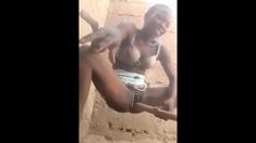 Farah ebony busty girl trying lingerie