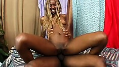 Slender ebony munches on his meat and gets it slamming her cunt
