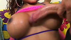 Busty ebony beauty takes a big dick balls deep in her nasty snatch