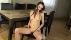 Beauty strips in kitchen, starts masturbating