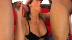 Brunette gets her face fucked until her mascara runs down her face