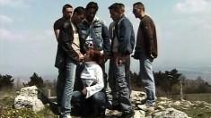 Wild Brunette in Hillside Gangbang